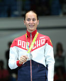 Silver medalist Sofya Velikaya of Russian Federation during medal ceremony Women`s Sabre Individual final at Rio 2016 Olympics Stock Images