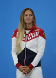 Silver medalist Yulia Efimova of Russia during medal ceremony after Women`s 100m Breaststroke Final of the Rio 2016 Stock Photos