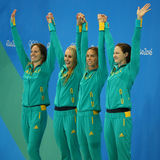Silver medalists Team Australia Women`s 4 × 100m medley relay at the Rio 2016 Olympics. RIO DE JANEIRO, BRAZIL - AUGUST 13, 2016: Silver medalists Team Stock Images