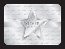 Silver member club card with big star Stock Photo