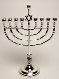 Silver menorah. On white background Royalty Free Stock Photography