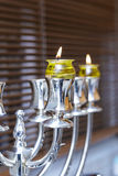 Silver Menorah Hanukkah With olive oil Stock Photography