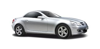 Silver Mercedes SLK Royalty Free Stock Images