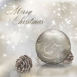 Silver Merry Christmas greeting card Stock Photo