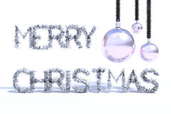 Silver merry christmas greeting card Stock Photos