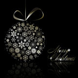 Silver Merry Christmas postcard Royalty Free Stock Photo