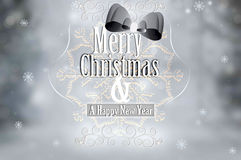 Silver Merry Christmas Vintage Card Typography Over Defocused Ba Stock Photography