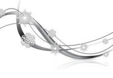 Silver metal abstract Christmas background. With snowflakes and waves. Vector design eps 10 Royalty Free Stock Photos