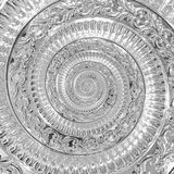 Silver metal abstract spiral background pattern fractal. Decorative ornament element. Silver metallic decorative ornament element. Chrome metallic background Stock Image