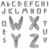 Silver metal alphabet with diamonds Stock Images