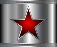 Silver metal background with red star inside Stock Images