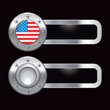 Silver metal banners with round american flag icon Stock Photos