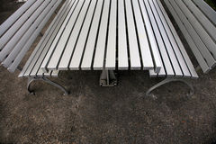 Silver metal benches and table Stock Image