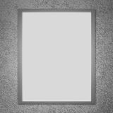 Silver  metal billboard frame on wall background Royalty Free Stock Image