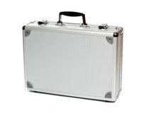 Silver metal briefcase Royalty Free Stock Images