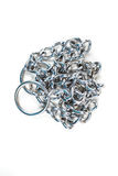 Silver metal choke chain. For dog isolated on white background stock photography