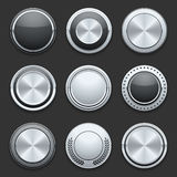 Silver metal chrome vector buttons set Royalty Free Stock Photos