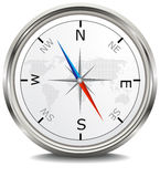 Silver metal compass Stock Images