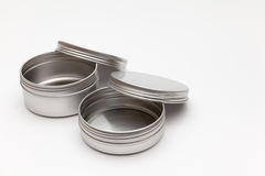 Silver metal containers Stock Image