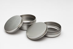 Silver metal containers Royalty Free Stock Images