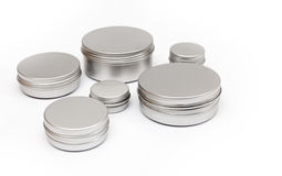 Silver metal containers for cosmetics Royalty Free Stock Photos