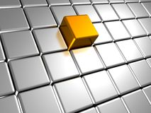 Silver metal cubes background with golden element Stock Image