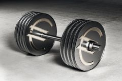 Silver metal euro dumbbell. 3d image of silver metal euro dumbbell concept. 3D render Royalty Free Stock Photo