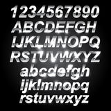 Silver Metal Font. Letters and numbers Stock Photos