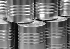 Silver metal food cans closeup on stack. Silver metal food can closeup on stack Stock Photos