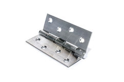 Silver metal hinge. Isolate on white background royalty free stock photos
