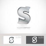 Silver metal letter S logo Stock Photos
