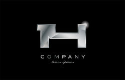 14 silver metal number company design logo. 14 metal silver logo number on a black blackground Stock Photo