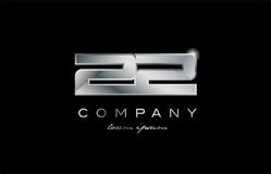 22 silver metal number company design logo. 22 metal silver logo number on a black blackground Stock Images