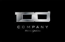 100 silver metal number company design logo. 100 metal silver logo number on a black blackground Stock Photos