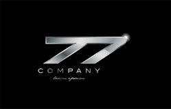 77 silver metal number company design logo. 77 metal silver logo number on a black blackground Stock Photography