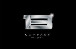 13 silver metal number company design logo. 13 metal silver logo number on a black blackground Stock Photography