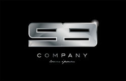 99 silver metal number company design logo. 99 metal silver logo number on a black blackground Stock Photo