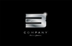 3 silver metal number company design logo. 3 metal silver logo number on a black blackground Stock Image