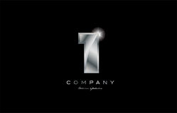 1 silver metal number company design logo. 1 metal silver logo number on a black blackground Stock Photo