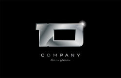 10 silver metal number company design logo. 10 metal silver logo number on a black blackground Royalty Free Illustration