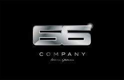 66 silver metal number company design logo. 66 metal silver logo number on a black blackground Royalty Free Stock Photos