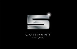 5 silver metal number company design logo. 5 metal silver logo number on a black blackground Royalty Free Stock Images