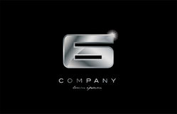 6 silver metal number company design logo. 6 metal silver logo number on a black blackground Royalty Free Stock Image