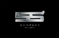 55 silver metal number company design logo. 55 metal silver logo number on a black blackground vector illustration