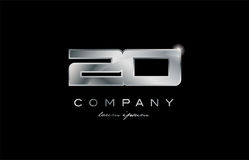 20 silver metal number company design logo. 20 metal silver logo number on a black blackground Royalty Free Stock Photo