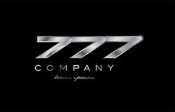 777 silver metal number company design logo. 777 metal silver logo number on a black blackground Royalty Free Stock Photography