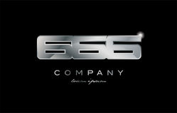 666 silver metal number company design logo. 666 metal silver logo number on a black blackground Stock Photos