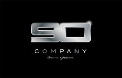90 silver metal number company design logo. 90 metal silver logo number on a black blackground Stock Photography