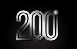 Silver metal number 200 logo icon design. Silver metal number 200 logo design suitable for a company or business stock illustration