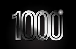 Silver metal number 1000 logo icon design. Silver metal number 1000 logo design suitable for a company or business stock illustration